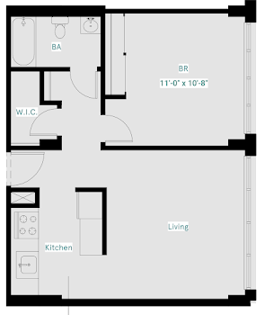 Go to One Bed, One Bath East (Premium) Floorplan page.
