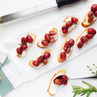 Roasted Grape Crostini with Lemon Ricotta and Honey