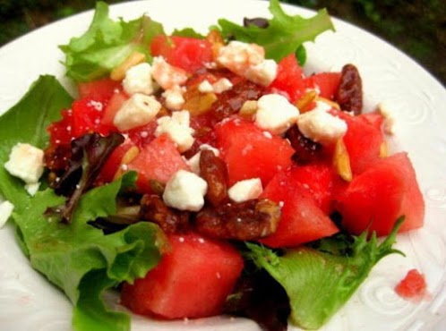 Watermelon, Baby Lettuce and Pecan Salad