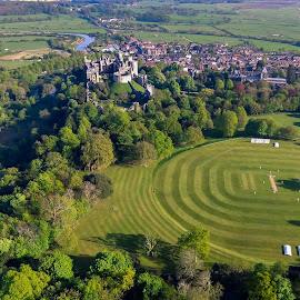 Historical Arundel from air by Bela Paszti - City,  Street & Park  Historic Districts ( england, aerophoto, dji, castle, westsussex, city, arundel, historical, history, eu, uk, cricket, 4k, park )