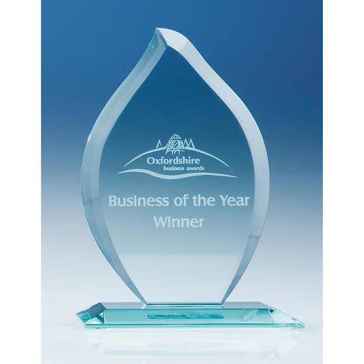 16 cm Jade Glass Flame Awards