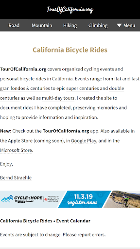 TourOfCalifornia.org: California Bicycle Rides screenshot 7