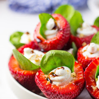 Goat Cheese & Spinach Stuffed Strawberries with Candied Walnuts & Balsamic Glaze.