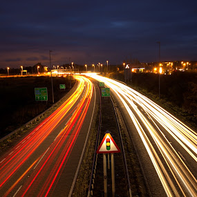 Light Beams by Michael Topley - City,  Street & Park  Street Scenes ( lights, england, uk, traffic, leicestershire, headlights, cars, long exposure, night, evening, syston )