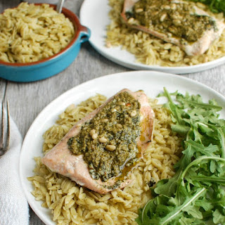 Pesto Salmon with Parmesan Pesto Orzo