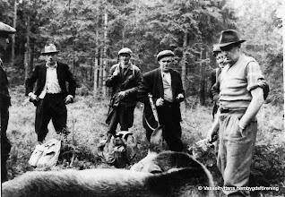 Photo: Jakt. En del av Vasselhyttans jaktlag. Från höger: Åke Danielsson, Henning Andersson, Axel Sundström, Levi Eriksson, Reinhold Israelsson, Folke Thessén, Bernt Einarsson