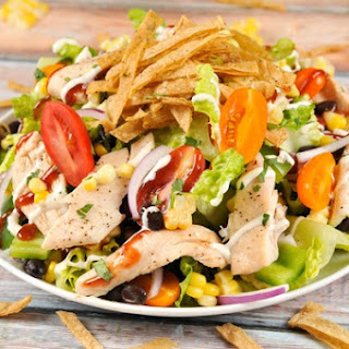 BBQ-Ranch Chicken Salad With Housemade Tortilla Strips and Creamy Ranch Dressing