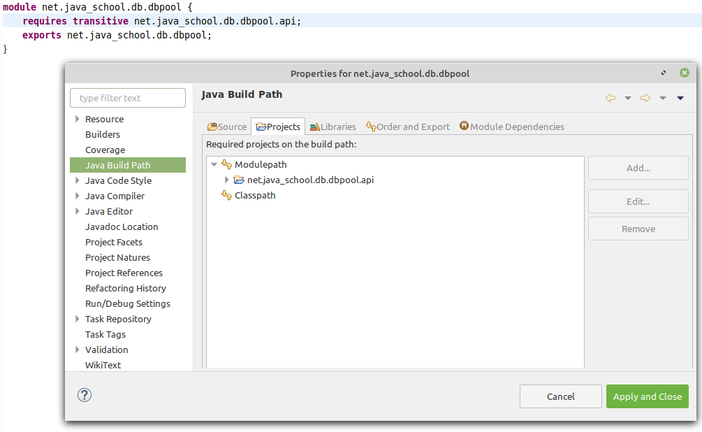 net.java_school.db.dbpool module Java Build Path