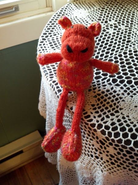 Photo: A hippo for a friend's son - made out of some horrible clown barf yarn that The Boy chose.
