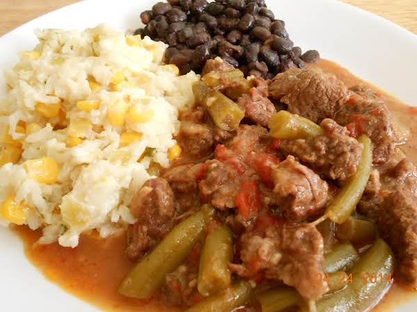 Michoacan Beef. The Rice Next To It Is Mexican Sour Cream Rice From Another User On This Site And Is Yummy!