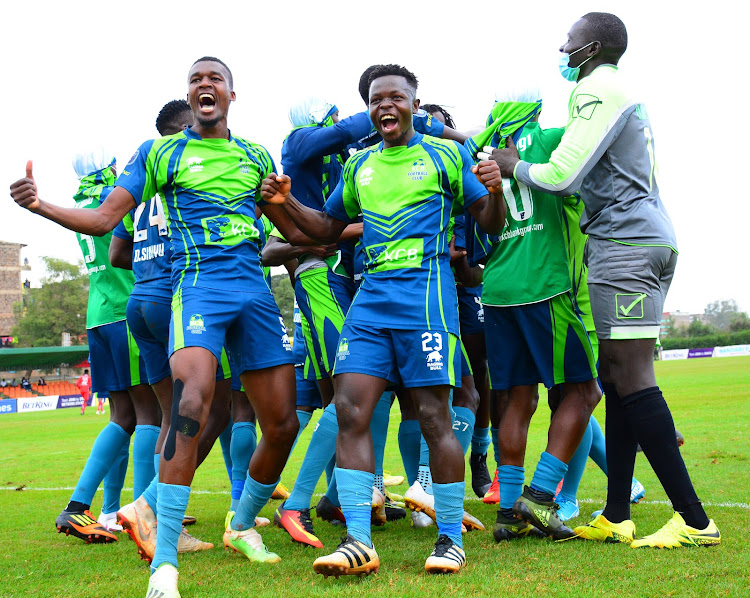 KCB players celebrate after scoring against Bandari during their league clash at Utalii Sports Club