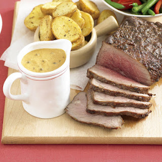 Roast Beef with Peppercorn Gravy.