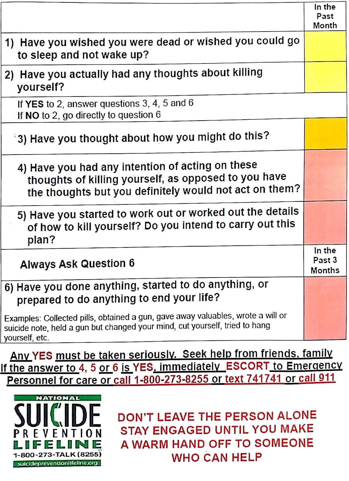 The Columbia Suicide Severity Rating Scale, developed by the Columbia Lighthouse Project, is based off of 20 years of research in suicide prevention.