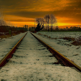 On my way by Jürgen Sprengart - Landscapes Sunsets & Sunrises ( winter, sunset, snow, sun )
