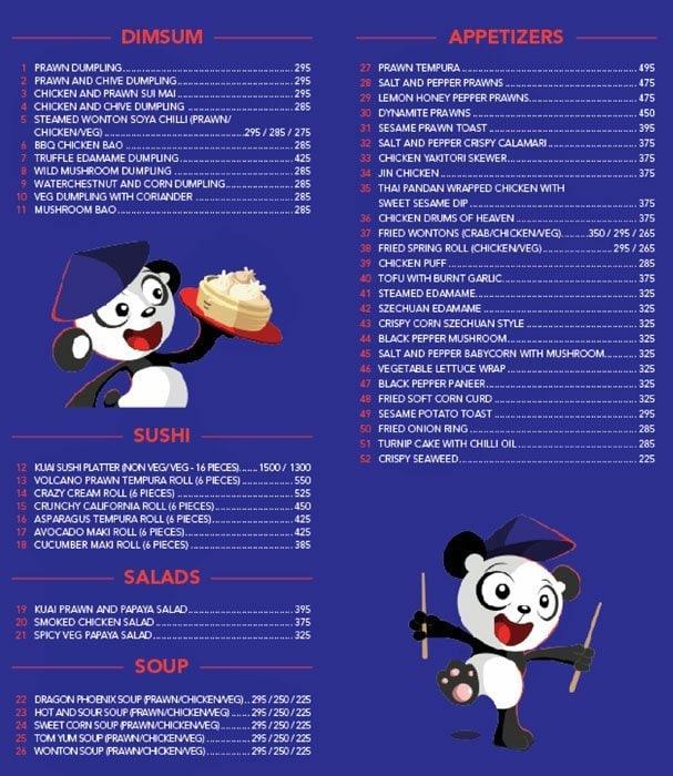 Kuai Kitchen menu 1