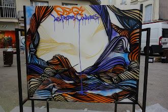 Photo: Peinture réalisée pendant la performance le jour du vernissage de l' exposition.