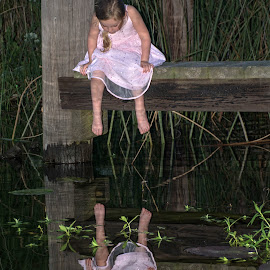 Is That Me by Wendy  Walters - Babies & Children Child Portraits ( little girls reflection, water, reflection, pier, river, girls reflection,  )