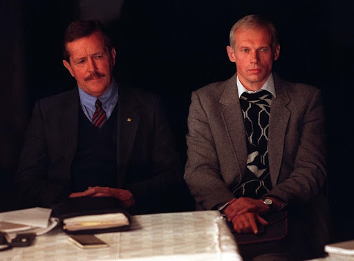 Clive Derby-Lewis and Janusz Walus appear in front of the Truth and Reconcilaition Commission in June 1997. Picture: ADIL BRADLOW/PICTURENET AFRICA