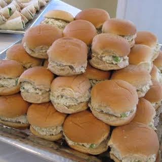 MINI CHICKEN SALAD SANDWICHES.