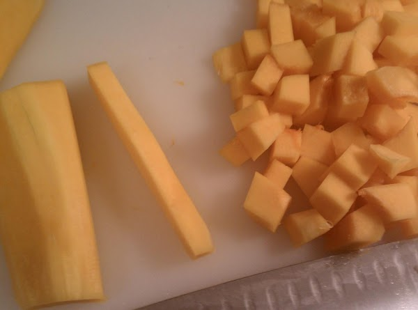 """Cut the squash into about 1"""" cubes. Melt butter, and add squash to skillet;..."""