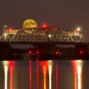 Moon and Bridge by Keith Wood - Landscapes Waterscapes ( beaufort, kewphoto, moon, bridge, keith wood,  )