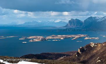 Photo: View towards Vågøya / Mjelde / Kjerringøy, from Keiservarden, Bodø