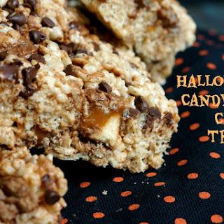 Leftover Halloween Candy Rice Crispy Treats