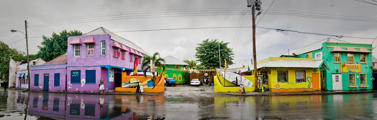 A street view of the colorful Boatyard on a rainy day.