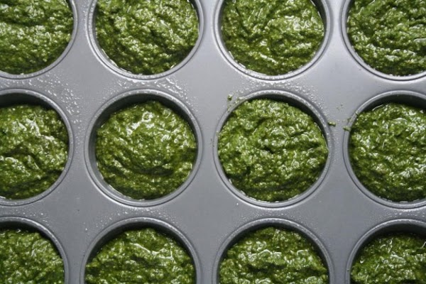 Pour into muffin tin sprayed with non-stick olive oil.  Place in freezer. When frozen...