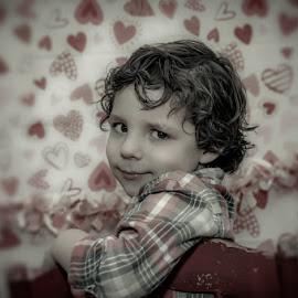 These Eyes by Chris Cavallo - Babies & Children Child Portraits ( chair, heart, red, maine, white valentine's, boy,  )