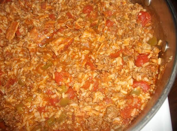 Hamburger Spanish Rice With Bacon Recipe