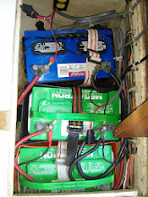 Photo: two green batteries are house bank and blue battery is starter
