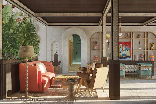 The bright and airy lobby aboard the Nile River ship AmaDahlia (digital rendering).