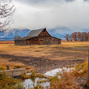 Most Photographed Barn by Rita Taylor - Buildings & Architecture Public & Historical ( barn, stream, autumn, landscape )