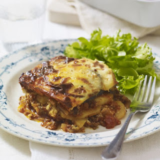 Moussaka - Eggplant with Ground Beef (or Lamb) and Cheese.