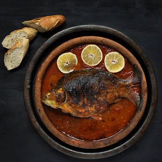 Baked Carp with Tomato Sauce for Saint Nicholas Day.