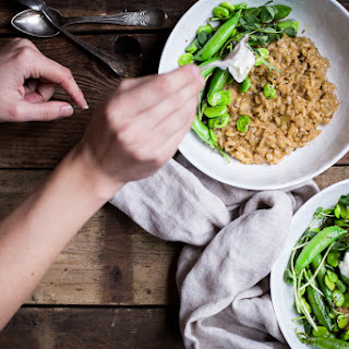 Garlic Green Risotto with Spring Vegetables.