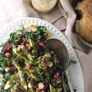 Spring Green Salad with Garlicky Honey Mustard Dressing
