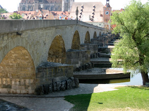 Photo: The stone bridge in Regensburg, our lunch stop on the way to Prague.