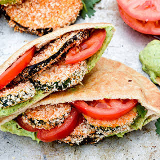 Baked Eggplant and Zucchini Sandwiches with Avocado Aioli.
