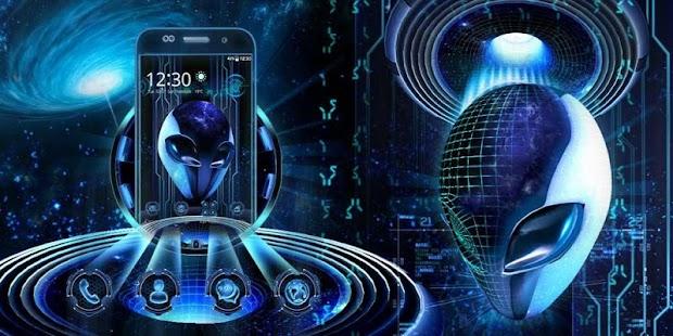 3D Neon Alien Galaxy Theme - náhled