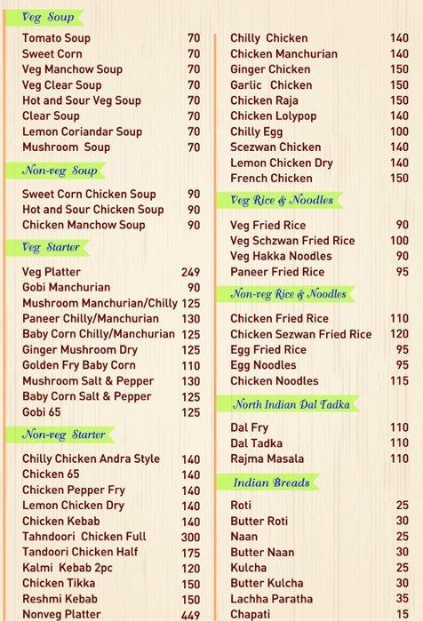 Coastal Curry menu 1