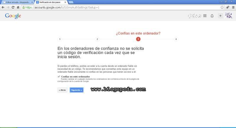 activar la verificación en 2 pasos de google