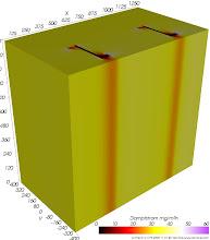 Photo: Dampfdiffusions-Stromdichten (zur Identifikation von Dampfdiffusionsbrücken) Farbskala: Astronomie Werteintervall: 0-60 mg/m²h
