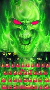 Green Fire Skull - náhled