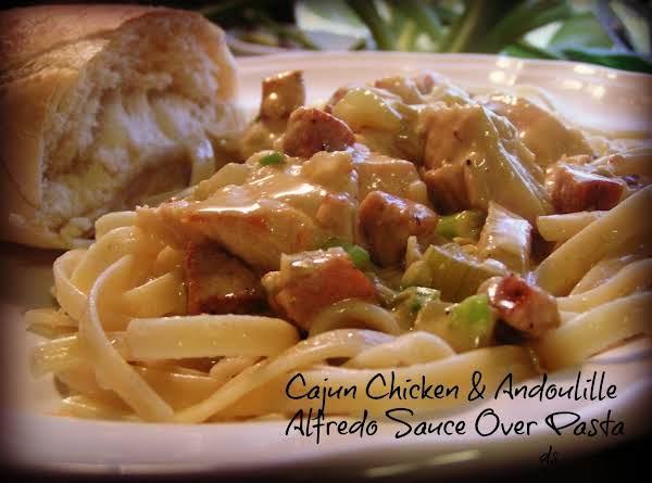 Cajun Chicken & Andoulille Alfredo Sauce Ovr Pasta Recipe