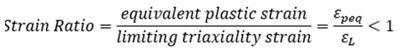 Сравнение полученных в ходе расчета эквивалентных пластических относительных деформаций (equivalent plastic strain) с предельными объемными деформациями