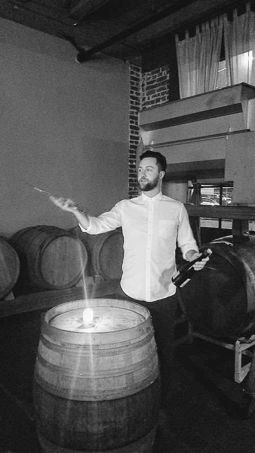 Holdfast Dining New Year's Dinner 2018, 10 course dinner with 6 wine pairings. the first two courses were paired with a Champagne from a 200 year old grower, Lelarge-Pugeot 'Tradition' Extra Brut MV and wine director Ty Bohl sabered it open