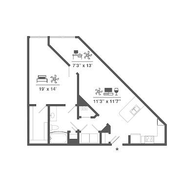 A3 Alt Floorplan Diagram 895 Sq Ft