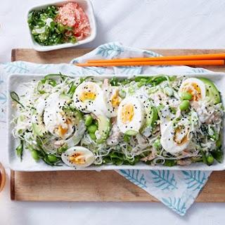 Tuna And Somen Salad With Lemon And Wasabi Dressing.